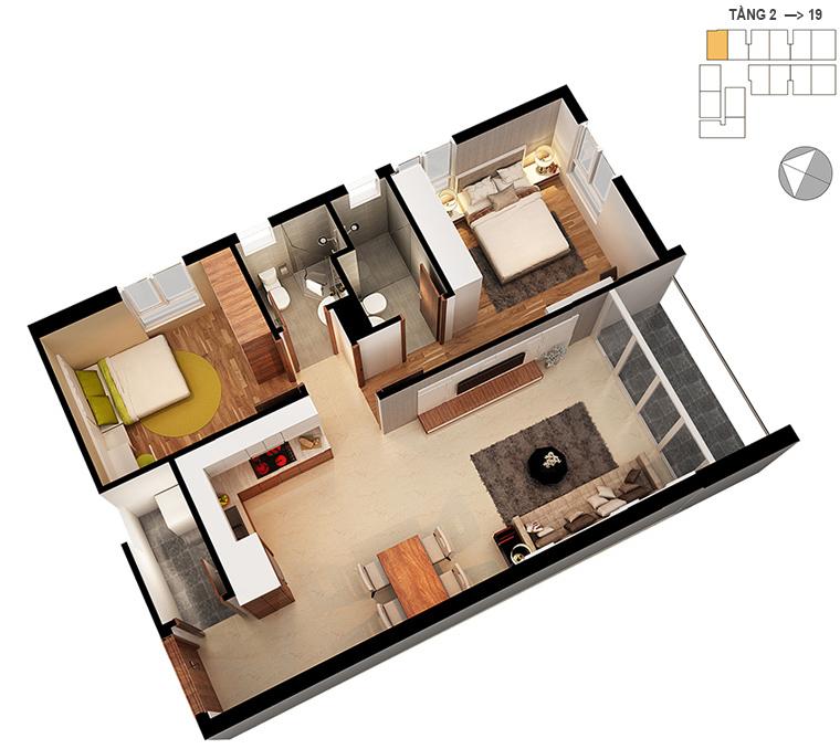 Mặt bằng căn hộ 2 phòng ngủ 71.1m2