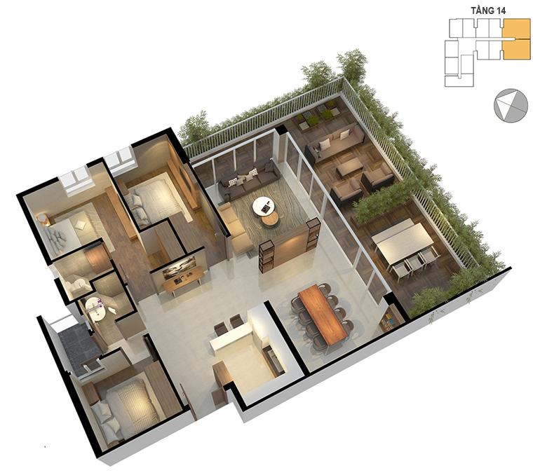 Mặt bằng căn hộ 3 phòng ngủ 111.5m2