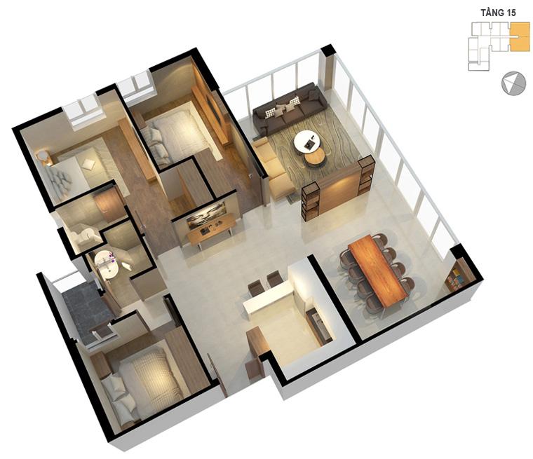 Mặt bằng căn hộ 3 phòng ngủ 1115m2