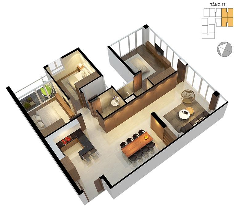 Mặt bằng căn hộ 3 phòng ngủ 122.8m2