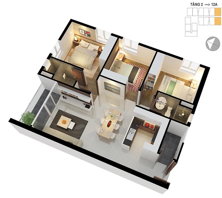 Mặt bằng căn hộ 3 phòng ngủ 86.7m2