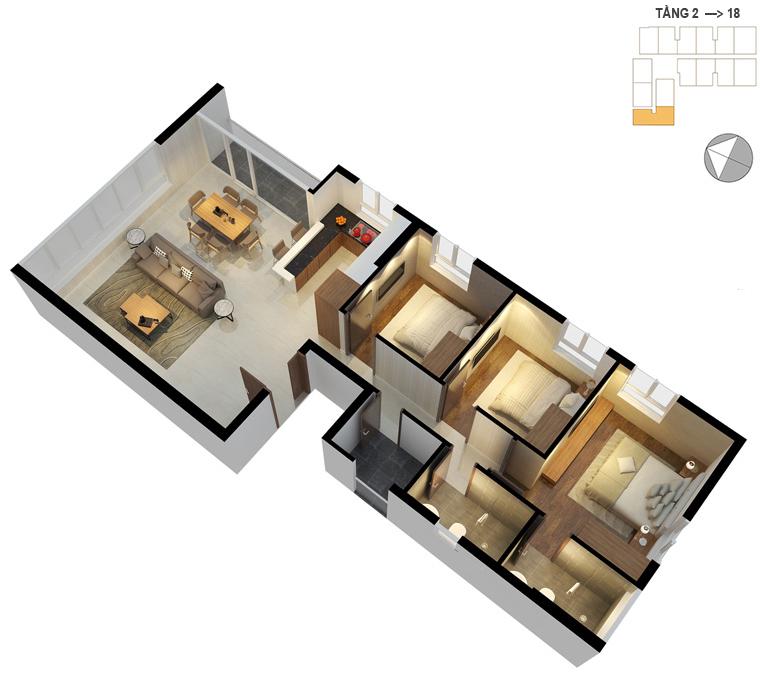 Mặt bằng căn hộ 3 phòng ngủ 98.2m2